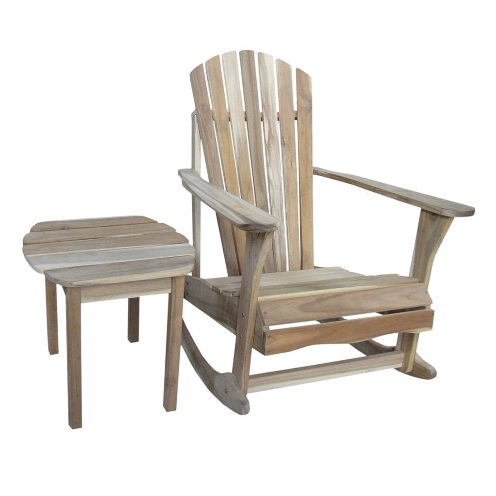2-piece Adirondack Natural Rocking Chair & Side Table Set