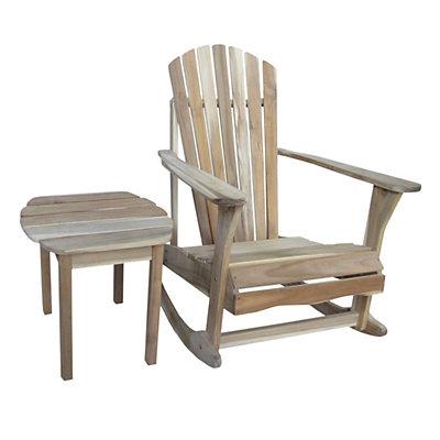 2-piece Adirondack Natural Rocking Chair & Side Table Set