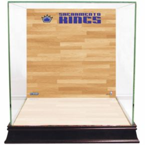 Steiner Sports Glass Basketball Display Case with Sacramento Kings Logo On Court Background