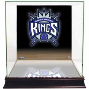 Steiner Sports Glass Basketball Display Case with Sacramento Kings Logo Background