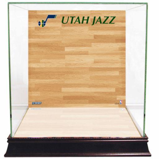 Steiner Sports Glass Basketball Display Case with Utah Jazz Logo On Court Background