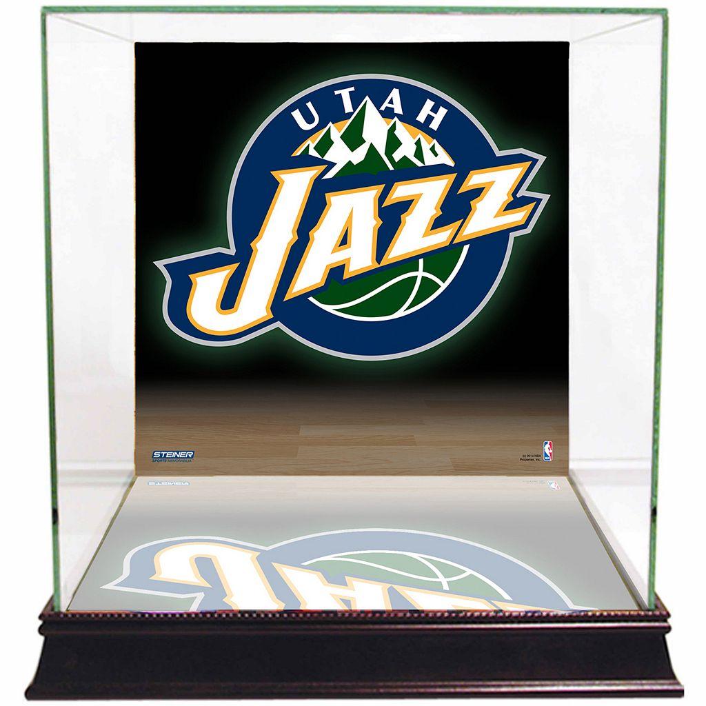Steiner Sports Glass Basketball Display Case with Utah Jazz Logo Background