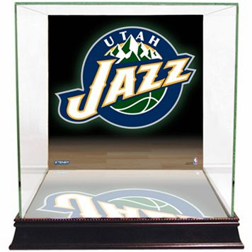 Steiner Sports Glass Basketball Display Case with Utah Jazz Logo Background