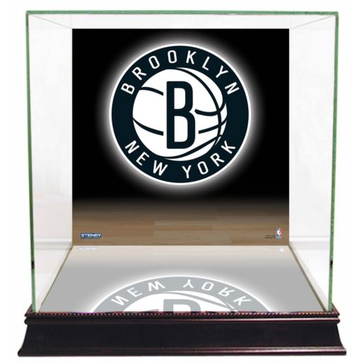 Steiner Sports Glass Basketball Display Case with Brooklyn Nets Logo Background