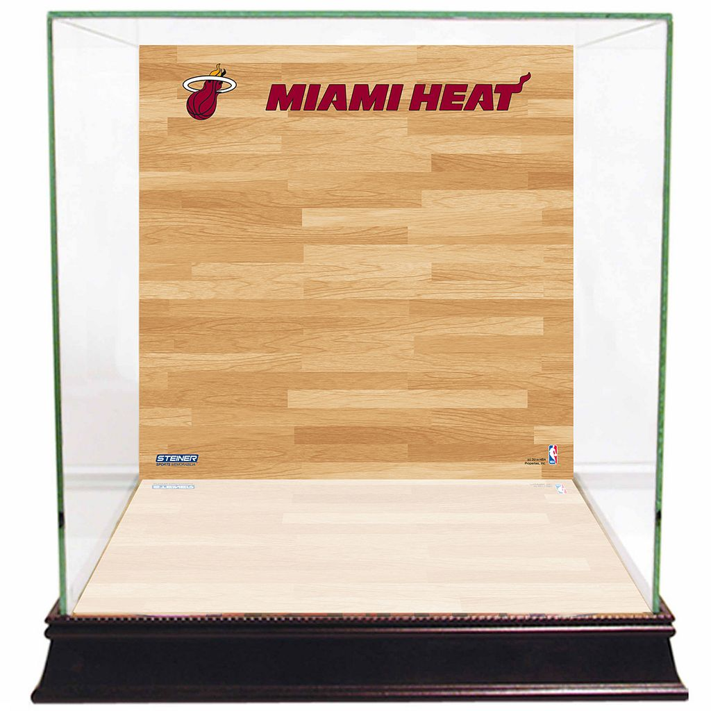 Steiner Sports Glass Basketball Display Case with Miami Heat Logo On Court Background