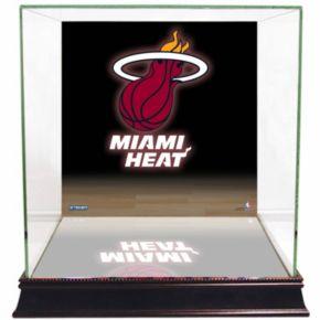 Steiner Sports Glass Basketball Display Case with Miami Heat Logo Background