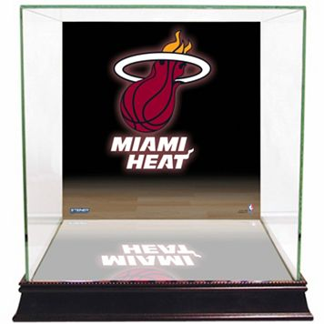 Steiner Sports Glass Basketball Display Case with Miami Heat Logo Background