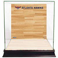 Steiner Sports Glass Basketball Display Case with Atlanta Hawks Logo On Court Background