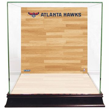 Steiner Sports Glass Basketball Display Case with Atlanta Hawks Logo On Court Background