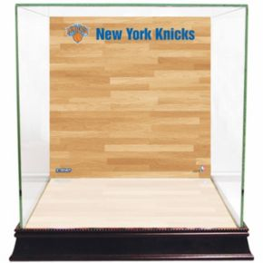Steiner Sports Glass Basketball Display Case with New York Knicks Logo On Court Background