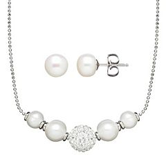 Freshwater by HONORA Freshwater Cultured Pearl & Crystal Sterling Silver Necklace & Stud Earring Set
