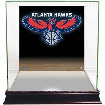 Steiner Sports Glass Basketball Display Case with Atlanta Hawks Logo Background