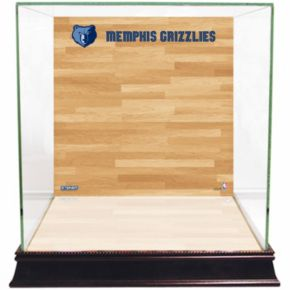 Steiner Sports Glass Basketball Display Case with Memphis Grizzlies Logo On Court Background
