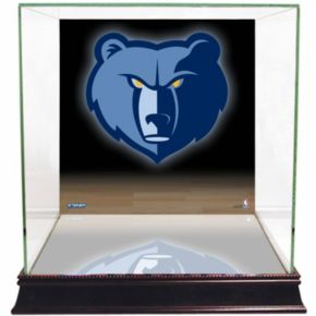 Steiner Sports Glass Basketball Display Case with Memphis Grizzlies Logo Background