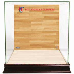 Steiner Sports Glass Basketball Display Case with Los Angeles Clippers Logo On Court Background