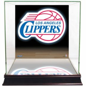 Steiner Sports Glass Basketball Display Case with Los Angeles Clippers Logo Background