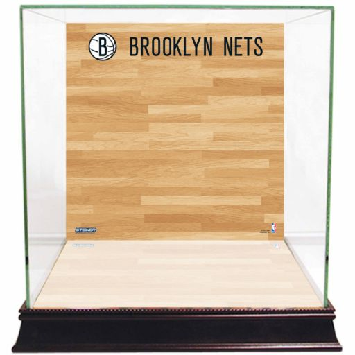 Steiner Sports Glass Basketball Display Case with Brooklyn Nets Logo On Court Background