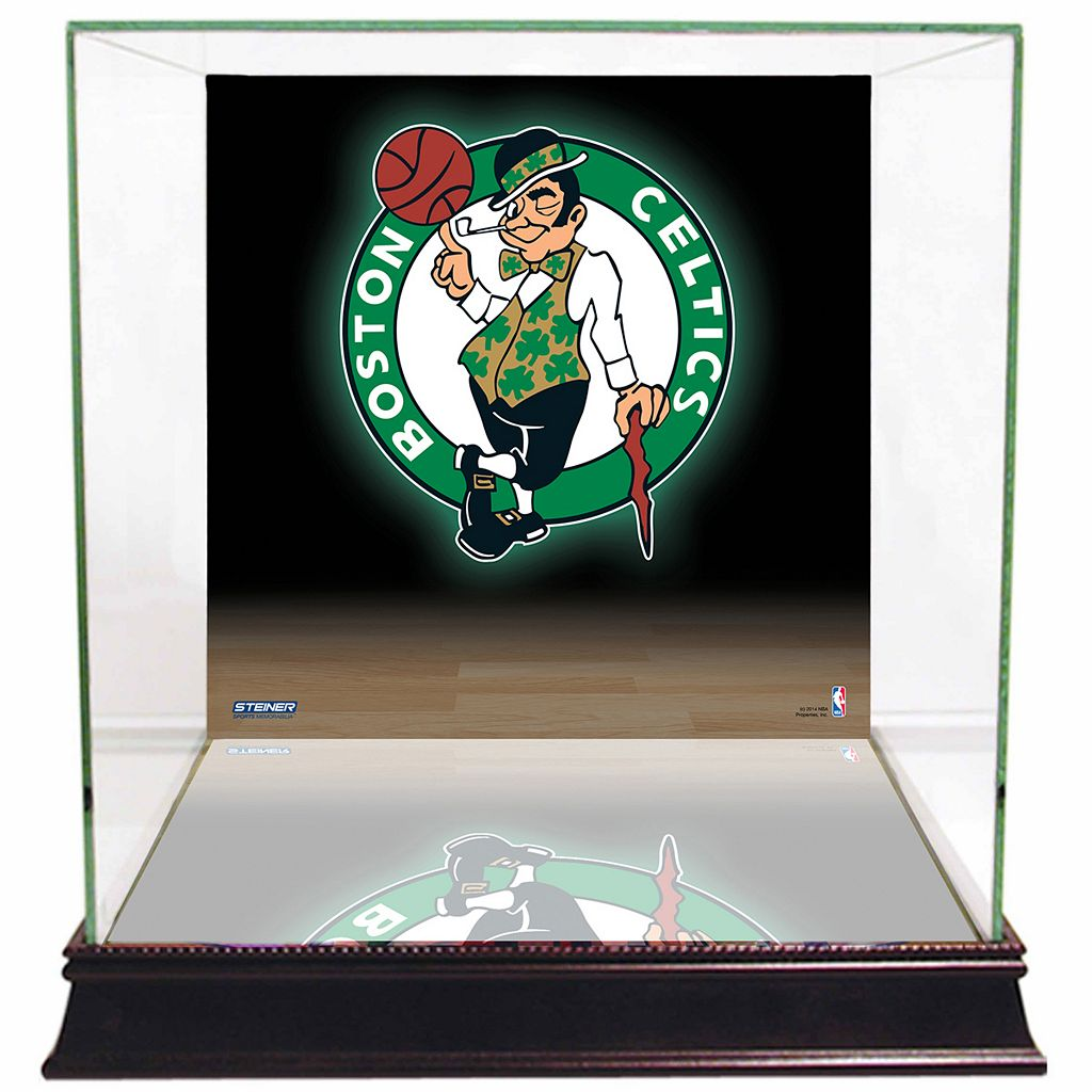 Steiner Sports Glass Basketball Display Case with Boston Celtics Logo Background