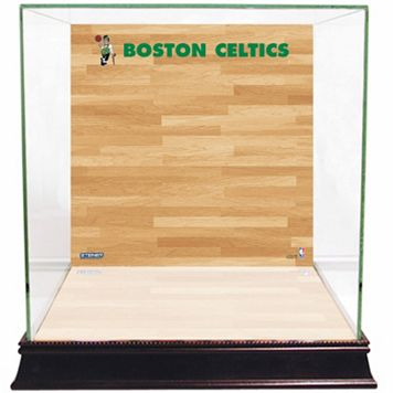 Steiner Sports Glass Basketball Display Case with Boston Celtics Logo On Court Background
