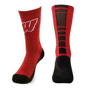 Youth Mojo Wisconsin Badgers Champ 1/2-Cushion Performance Crew Socks