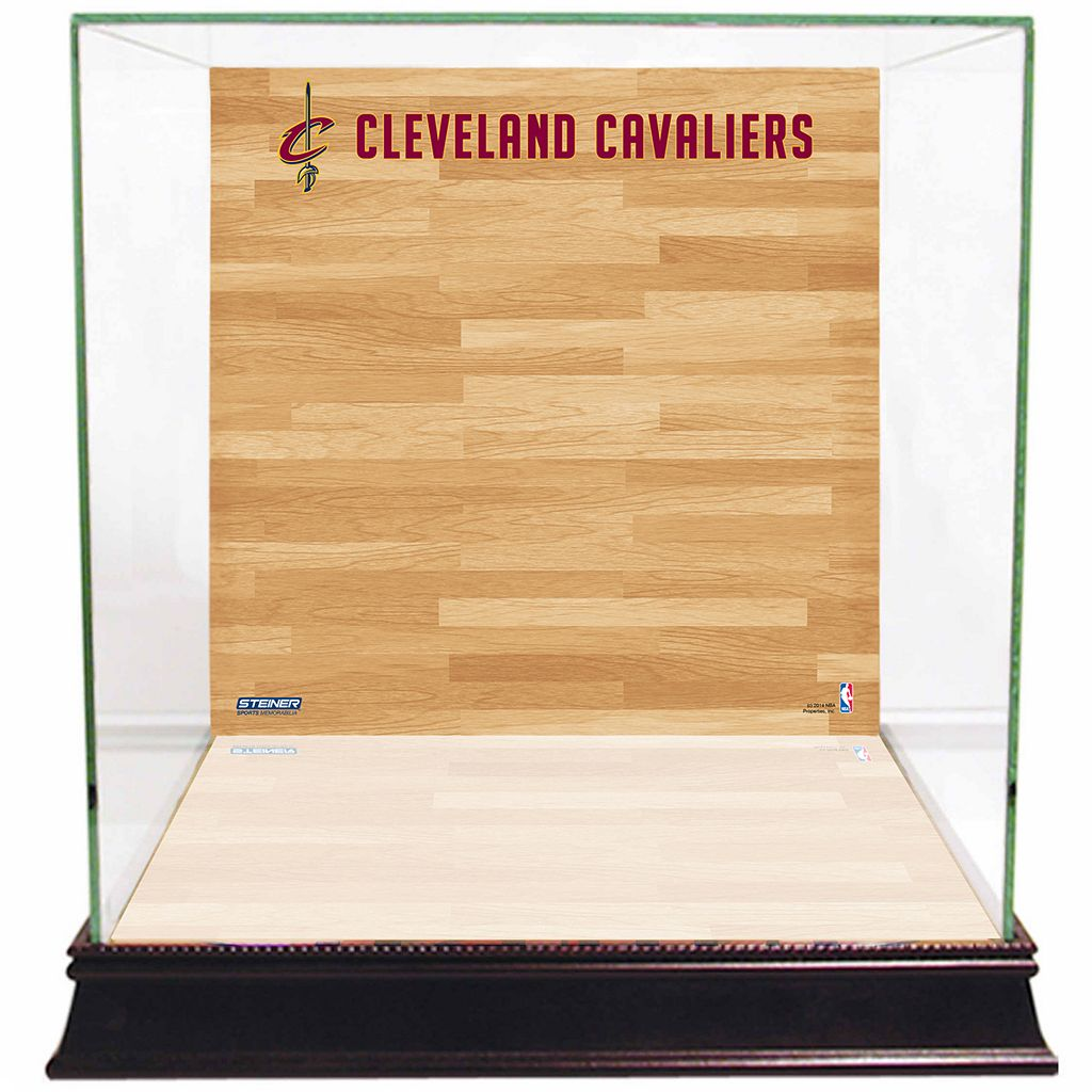 Steiner Sports Glass Basketball Display Case with Cleveland Cavaliers Logo On Court Background