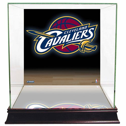 Steiner Sports Glass Basketball Display Case with Cleveland Cavaliers Logo Background