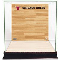 Steiner Sports Glass Basketball Display Case with Chicago Bulls Logo On Court Background