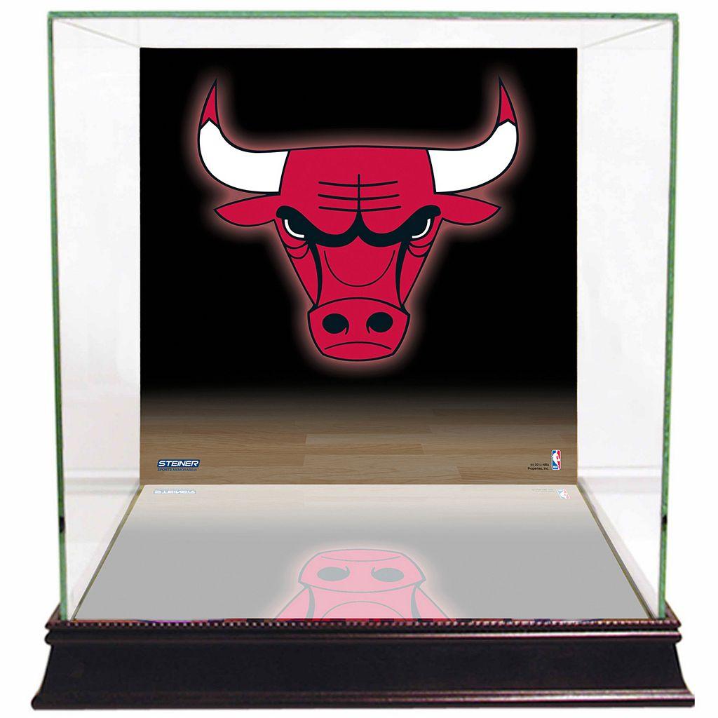 Steiner Sports Glass Basketball Display Case with Chicago Bulls Logo Background