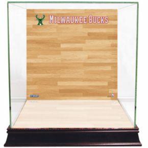 Steiner Sports Glass Basketball Display Case with Milwaukee Bucks Logo On Court Background