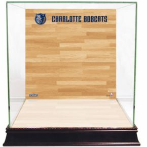 Steiner Sports Glass Basketball Display Case with Charlotte Bobcats Logo On Court Background