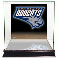 Steiner Sports Glass Basketball Display Case with Charlotte Bobcats Logo Background