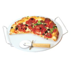 Fox Run 3914 Pizza Stone Set with Rack and Pizza Cutter