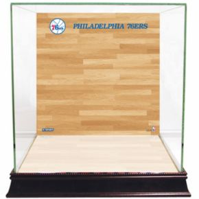 Steiner Sports Glass Basketball Display Case with Philadelphia 76ers Logo On Court Background