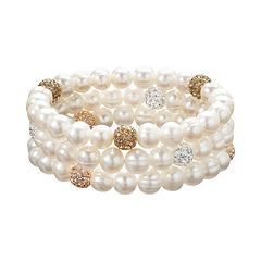 Freshwater by HONORA Freshwater Cultured Pearl & Crystal Stretch Bracelet Set