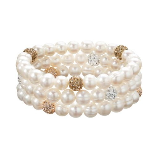 Freshwater by HONORA Freshwater Cultured Pearl and Crystal Stretch Bracelet Set