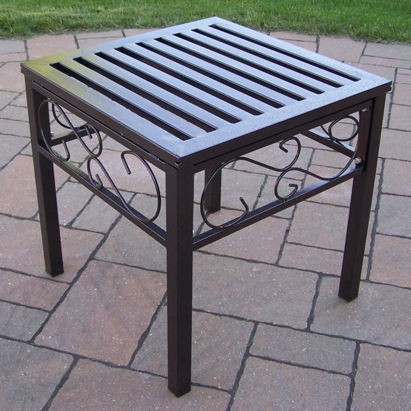 Outdoor Scroll End Table, Brown Oth