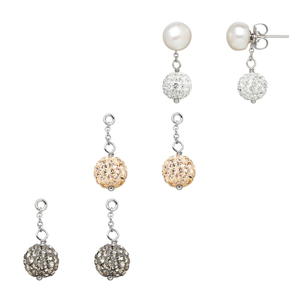 Freshwater by HONORA Freshwater Cultured Pearl & Crystal Interchangeable Stud & Drop Earring Set