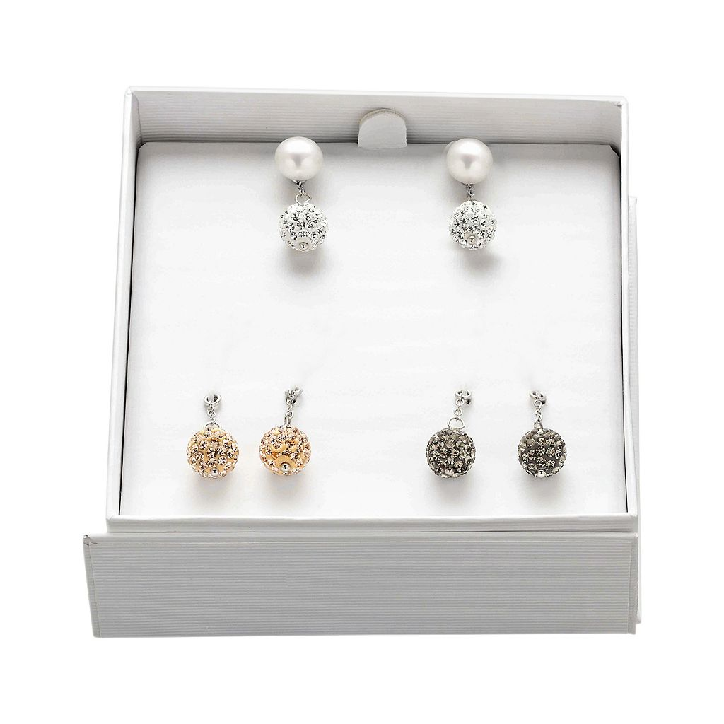 Freshwater by HONORA Freshwater Cultured Pearl and Crystal Interchangeable Stud and Drop Earring Set