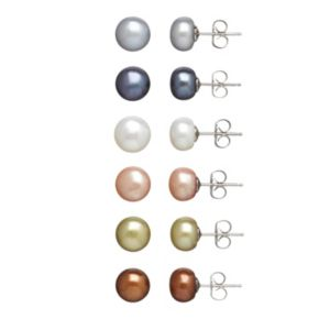 Freshwater by HONORA Dyed Freshwater Cultured Pearl Stud Earring Set