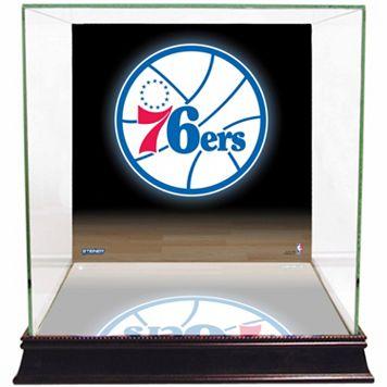 Steiner Sports Glass Basketball Display Case with Philadelphia 76ers Logo Background