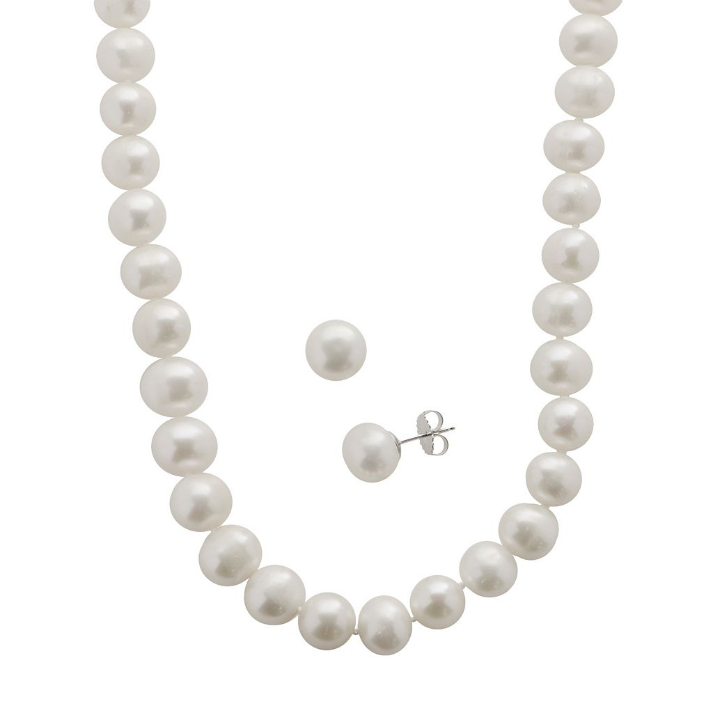 PearLustre by Imperial Freshwater Cultured Pearl Sterling Silver Necklace & Stud Earring Set