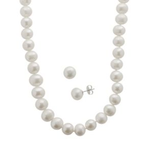 PearLustre by Imperial Freshwater Cultured Pearl Sterling Silver Necklace and Stud Earring Set