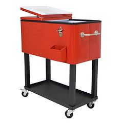 Steel 80-Quart Rolling Patio Cooler
