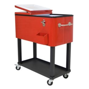 Steel 80-Quart Rolling Patio Cooler