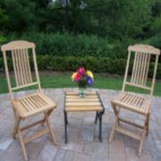 Wooden Outdoor Folding Event Chair 3-piece Set