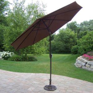 9-foot reinforced outdoor tilting crank umbrella & stand 9 Ft Umbrella with Stand
