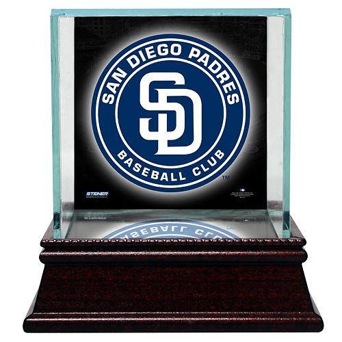 Steiner Sports Glass Single Baseball Display Case with San Diego Padres Logo Background