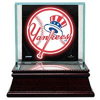 Steiner Sports Glass Single Baseball Display Case with New York Yankees Logo Background