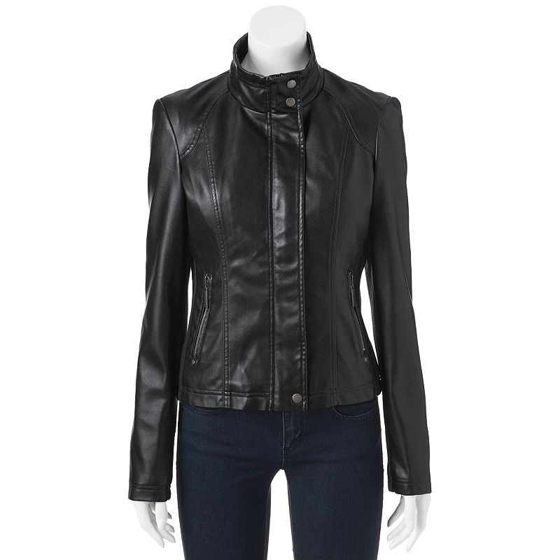 Therapy Ribbed Side Faux-Leather Jacket - Juniors