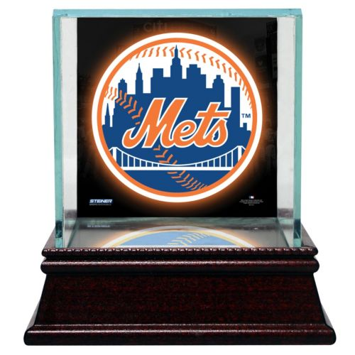 Steiner Sports Glass Single Baseball Display Case with New York Mets Logo Background